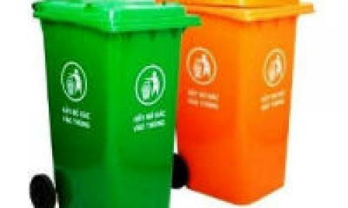 Giảm giá thùng rác nhựa có bánh xe và nắp đậy 120 lit