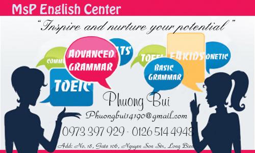 Học tiếng Anh hiệu quả và lý thú tại MsP EC. Long Biên, HN TA Ms Phương