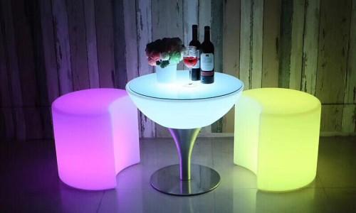 Bàn led đứng đổi màu, bàn ghế nhựa led