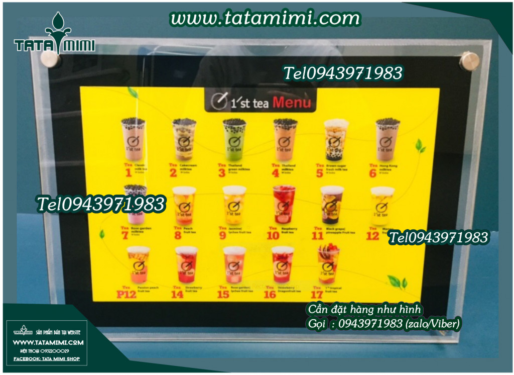 Bảng menu có led cho khách hàng dễ lựa chọn đồ