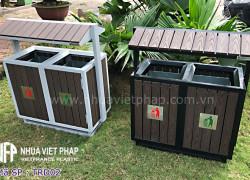 Thùng rác đôi gỗ nhựa WPC có mái che Nhựa Việt Pháp