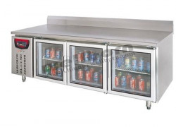 Tủ lạnh bàn 2 cánh kính có thành chắn sau SLLZ4-520E-3B